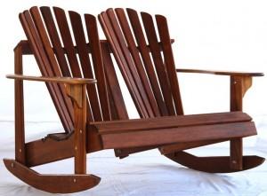 Double Teak Adirondack Rocking Chair Frontera