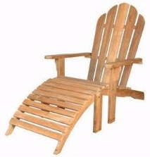 Teak Adirondack Chair with ottoman Anderson